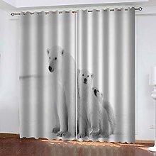 FYOIUI Animal Polar Bear Printed Blackout Curtains