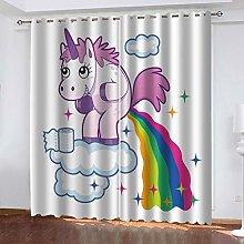 FYOIUI Cute Animal Horse Printed Blackout Curtains