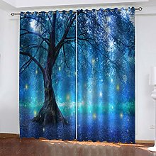 FYOIUI Dream Blue Woods Printed Blackout Curtains