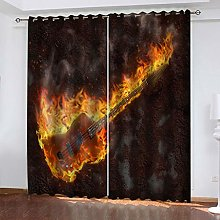 FYOIUI Flame Violin Printed Blackout Curtains For