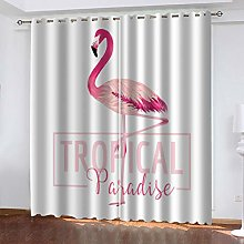 FYOIUI Pink Flamingo Printed Blackout Curtains For