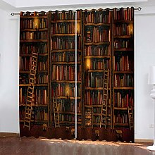 FYOIUI Retro Library Printed Blackout Curtains For