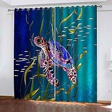 FYOIUI Sea Animal Turtle Printed Blackout Curtains