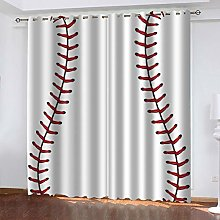 FYOIUI Sports Baseball Printed Blackout Curtains