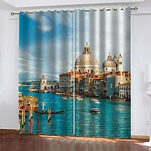 FYOIUI Venice Water City Printed Blackout Curtains
