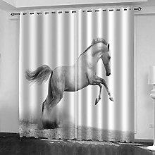 FYOIUI White Animal Horse Printed Blackout