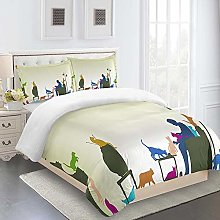 FYVEJI Double Duvet Cover Set Abstract animal