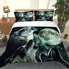 FYVEJI Double Duvet Cover Set Animal wolf full