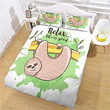 FYVEJI Double Duvet Cover Set Cartoon animal sloth