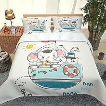 FYVEJI Double Duvet Cover Set Cartoon boat animal