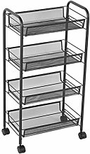 FYZS Service Carts Rolling Basket Stand 4 Tiers