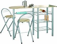 G-0077-Modern Breakfast Bar Table Set Stools