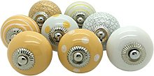 G Decor 8 x Yellow Ceramic Door Knobs Vintage