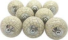 G Decor Cream Crackle Round Ceramic Door Knobs