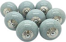 G Decor Grey Crackle Round Ceramic Door Knobs