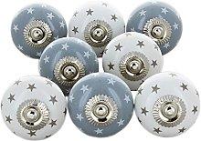 G Decor Grey Stars Pack of 8 Ceramic Door Knobs