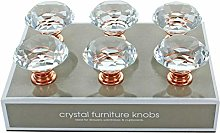 G Decor Pack of 6 x 40mm Rose Gold Clear Diamond