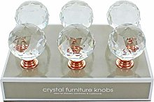 G Decor Pack of 6 x 40mm Rose Gold Clear Round