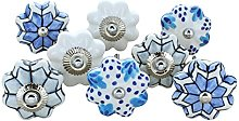 G Decor Set of 8 Blue, White and Grey Oceans and