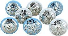 G Decor Set of 8 Harmony White and Blue Ceramic