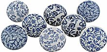 G Decor Set of 8 Royal Blue Collection Ceramic