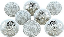 G Decor Set of 8 Success White Ceramic Door Knobs