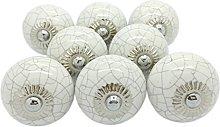 G Decor White Crackle Round Ceramic Door Knobs
