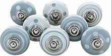 G Decor White Grey Set of 8 Ceramic Door Knobs