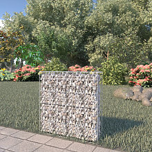 Gabion Wall with Covers Galvanised Steel 80x20x100