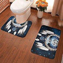 GABRI 2 Piece Bathroom Rug Set Dream Catcher Wolf