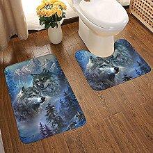 GABRI 2 Piece Bathroom Rug Set Howling Wolf