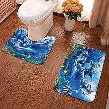 GABRI 2 Piece Bathroom Rug Set Marine Life Blue