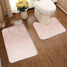GABRI 2 Piece Bathroom Rug Set Rose Gold Faux