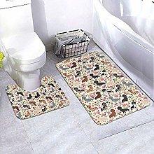 GABRI Bathroom Rug Set 2 Piece Dachshund Sausage