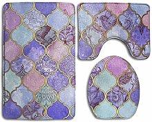 GABRI Bathroom Rugs Sets 3 Pieces Royal Purple