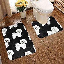 GABRI Bichon Frise Bathroom Rug Set 2 Piece