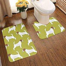 GABRI Jack Russell Terrier Bathroom Rug Set 2