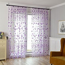 Gaddrt® 1 Panel Window Curtain Floral Scarf Sheer