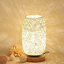 Gaddrt Table Lamp Wood Rattan Twine Ball Lights