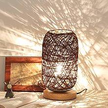 Gaddrt Table Lamp Wood Rattan Twine Ball Lights
