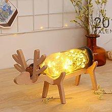 Gaddrt Xmas Elk LED Glass Bottle Wooden Base