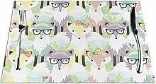 GAHAHA Placemats Dinner Coaster Glasses Fox