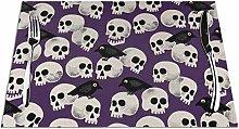 GAHAHA Placemats Skulls And Birds Dinner Mat