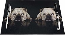 GAHAHA Placemats Two Bulldogs Dinner Mat Coaster
