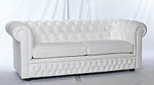 Gaillarde Leather 3 Seater Chesterfield Sofa