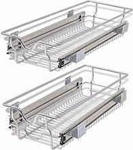 Galapara 2x Pull Out Storage Basket Drawer Chrome