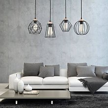 Galaxy hanging light with four cage lampshades