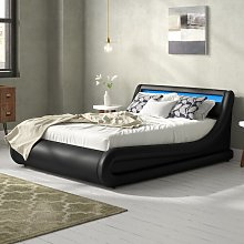 Galaxy LED Upholstered Ottoman Bed Brayden Studio
