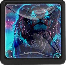 Galaxy Lion Art, 3 Pcs Crystal Class Cabinet Knobs