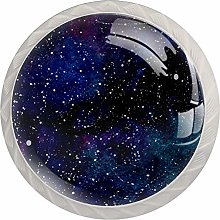 Galaxy Or Night Sky with Stars Set of 4 Drawer